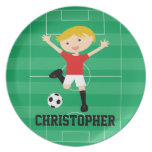 Customizable Soccer Boy 1 Red and White Melamine Plate
