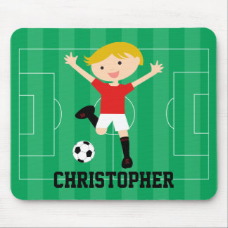 Customizable Soccer Boy 1 Red and White Mouse Pad