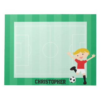 Customizable Soccer Boy 1 Red and White Note Pad