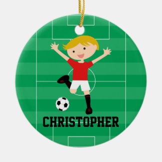 Customizable Soccer Boy 1 Red and White Double-Sided Ceramic Round Christmas Ornament