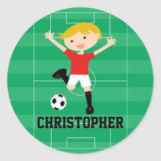 Customizable Soccer Boy 1 Red and White Sticker