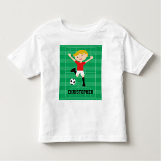Customizable Soccer Boy 1 Red and White Toddler T-shirt