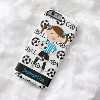 Customizable Soccer Girl 1 Goal Blue and White Barely There iPhone 6 Case