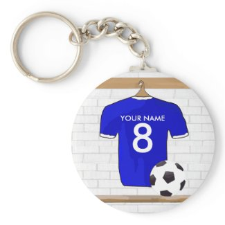 Customizable Soccer Jersey (blue) Keychain keychain