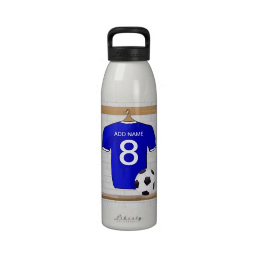 Customizable Soccer Jersey (blue) Keychain Reusable Water Bottles