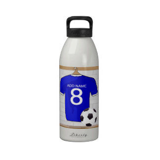 Customizable Soccer Jersey blue Keychain Reusable Water Bottle