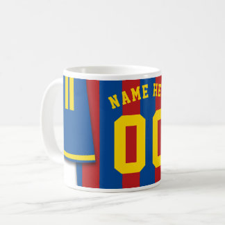 Customizable Soccer Jersey Mug, Black Gold Stripes Coffee Mug