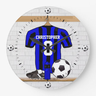 Customizable Soccer Shirt (black and red ) Large Clock