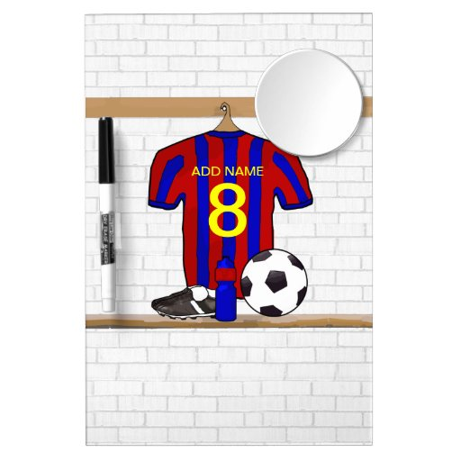 Customizable Soccer Shirt (blue and red ) Dry Erase Board With Mirror