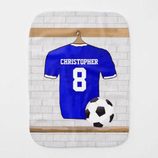 Customizable Soccer Shirt (blue) Baby Burp Cloth