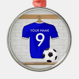 Customizable Soccer Shirt (blue) Pendant Christmas Ornaments