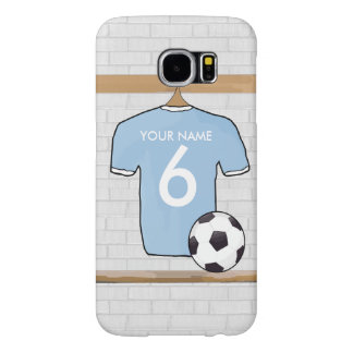 Customizable Soccer Shirt Jersey Sky Blue White Samsung Galaxy S6 Cases