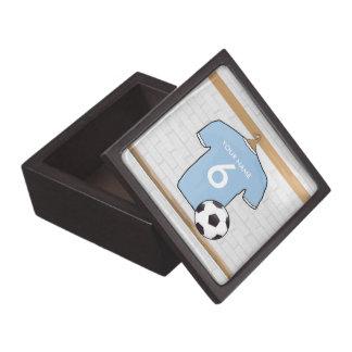Customizable Soccer Shirt  Sky Blue and White Jewelry Box