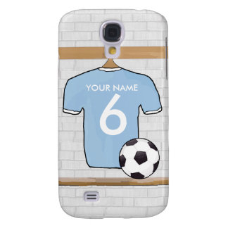 Customizable Soccer Shirt  Sky Blue and White Samsung Galaxy S4 Cover