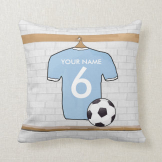 Customizable Soccer Shirt  Sky Blue and White Throw Pillow