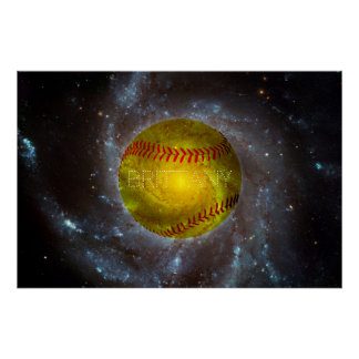 Customizable Softball in Space Galactic Poster