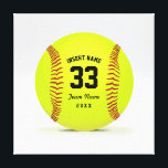 "Customizable Softball Yellow Red and Black Sport Canvas Print<br><div class=""desc"">Illustration on the theme softball. Customizable black text. Enter the player&#39;s name,  number,  team name and year.  Ideal gift for friends and family. Art by Jos&#233; Ricardo</div>"