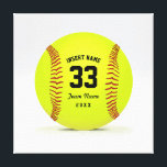 """Customizable Softball Yellow Red and Black Sport Canvas Print<br><div class=""""desc"""">Illustration on the theme softball. Customizable black text. Enter the player&#39;s name,  number,  team name and year.  Ideal gift for friends and family. Art by Jos&#233; Ricardo</div>"""