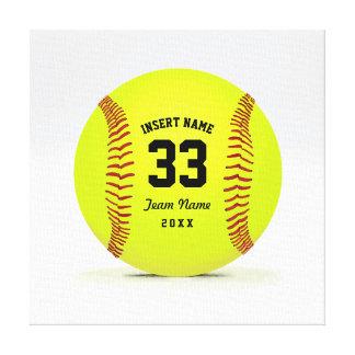 Customizable Softball Yellow Red and Black Sport Canvas Print