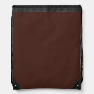 Customizable Solid Chocolate Brown Drawstring Backpack