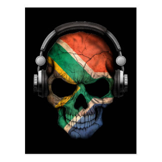 Customizable South African Dj Skull andHeadphones Postcard