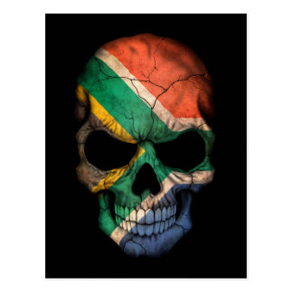 Customizable South African Flag Skull Postcard