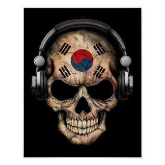 Customizable South Korean Dj Skull and Headphones Poster
