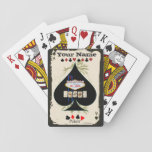 "Customizable Spade Las Vegas Poker Cards<br><div class=""desc"">A cool customizable set of playing cards for the poker fan of the family! Features vintage ace card backing,  vintage royal flush on back,  customizable your name text,  and poker suits. Also feature the Las Vegas sign. Fully customizable to add names,  images,  and more. Enjoy!</div>"