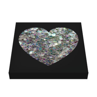 Customizable Sparkly colourful silver mosaic Heart Canvas Print