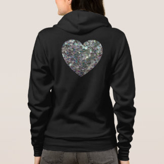Customizable Sparkly colourful silver mosaic Heart Hoodie