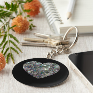 Customizable Sparkly colourful silver mosaic Heart Keychain