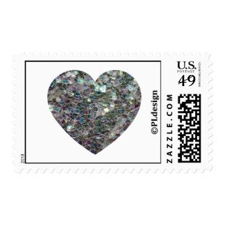 Customizable Sparkly colourful silver mosaic Heart Postage Stamp
