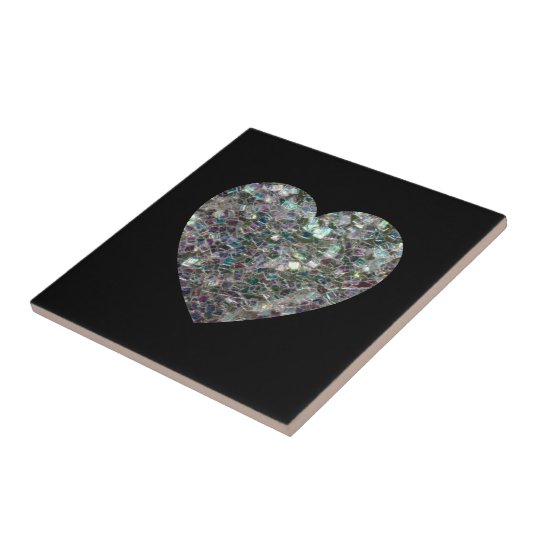 Customizable Sparkly colourful silver mosaic Heart Tile