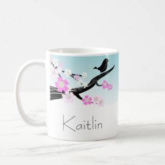 Customizable sparrow bird cherry blossoms graphic coffee mug