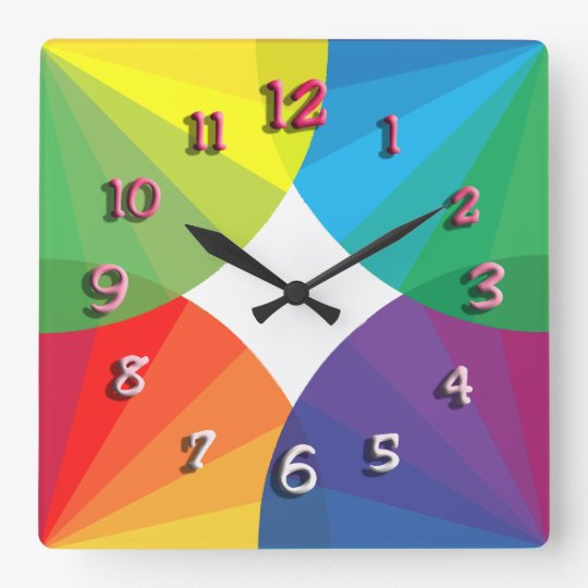 Customizable Spectrum Collection Square Wall Clock