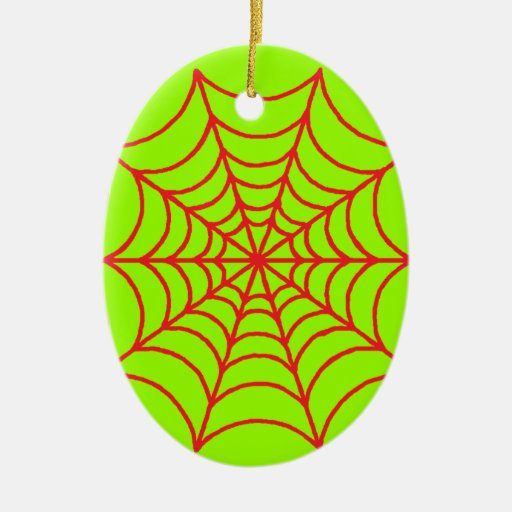 Customizable Spider Webs Double-Sided Oval Ceramic Christmas Ornament