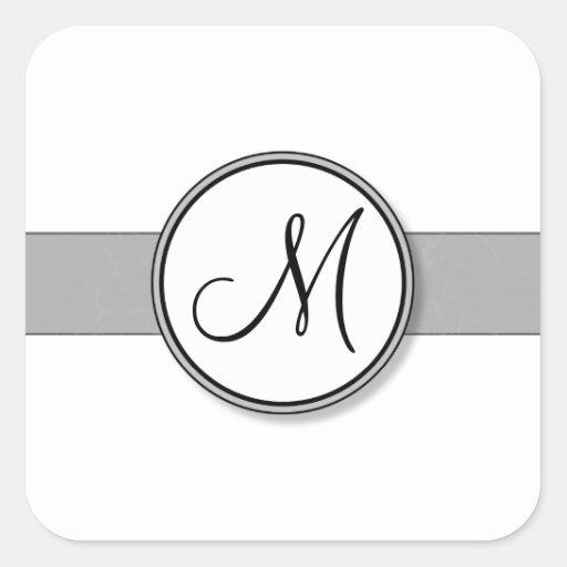 Customizable Split Monogram Seal Template Square Sticker