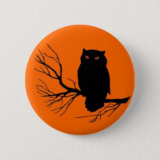 Customizable Spooky Owl Pinback Button