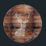 "Customizable Spray Painted Deer on Wood Dartboard<br><div class=""desc"">Rustic wood patterned dartboard with white spray painted deer head silhouette and customizable text.</div>"