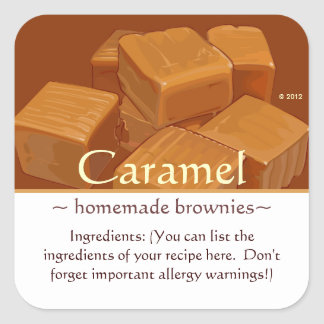 Customizable Square Caramels Stickers