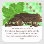 Customizable Square Mint Chocolate Stickers