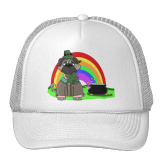 Customizable St. Pat's Day Black Pug Tees, Gifts Trucker Hats