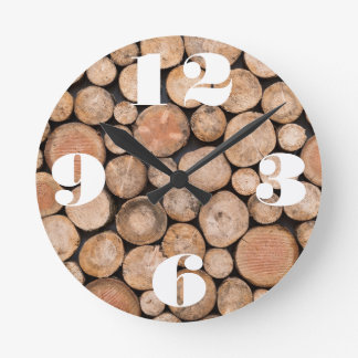 Customizable Stack of Wood Round Clock