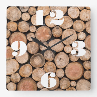 Customizable Stack of Wood Square Wall Clock