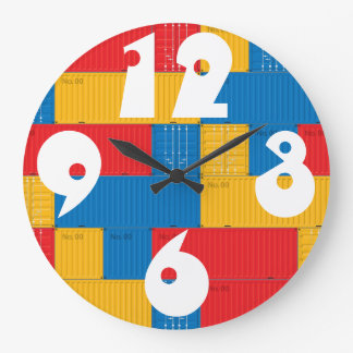 Customizable Stacked Cargo Containers. Large Clock