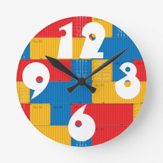 Customizable Stacked Cargo Containers. Round Clock