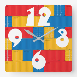 Customizable Stacked Cargo Containers. Square Wall Clock