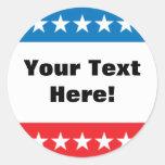 Customizable Stars and Stripes Design Round Sticker