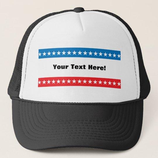 Customizable Stars and Stripes Design Trucker Hat