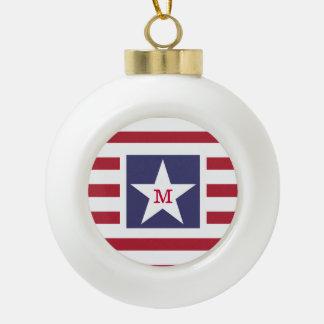 Customizable Stars and Stripes USA Momogram Ceramic Ball Christmas Ornament